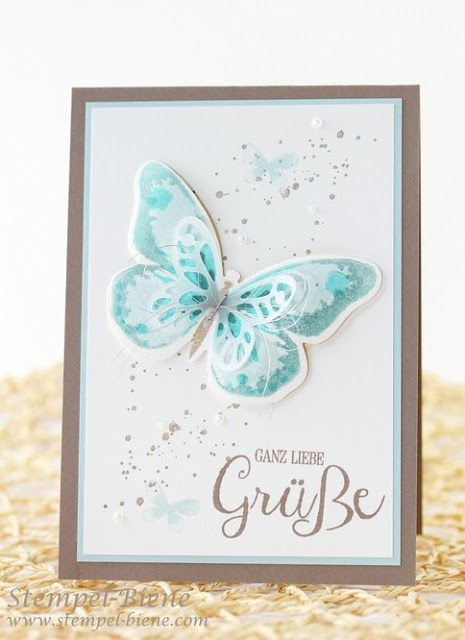 watercolor wings butterfly card by Sabine