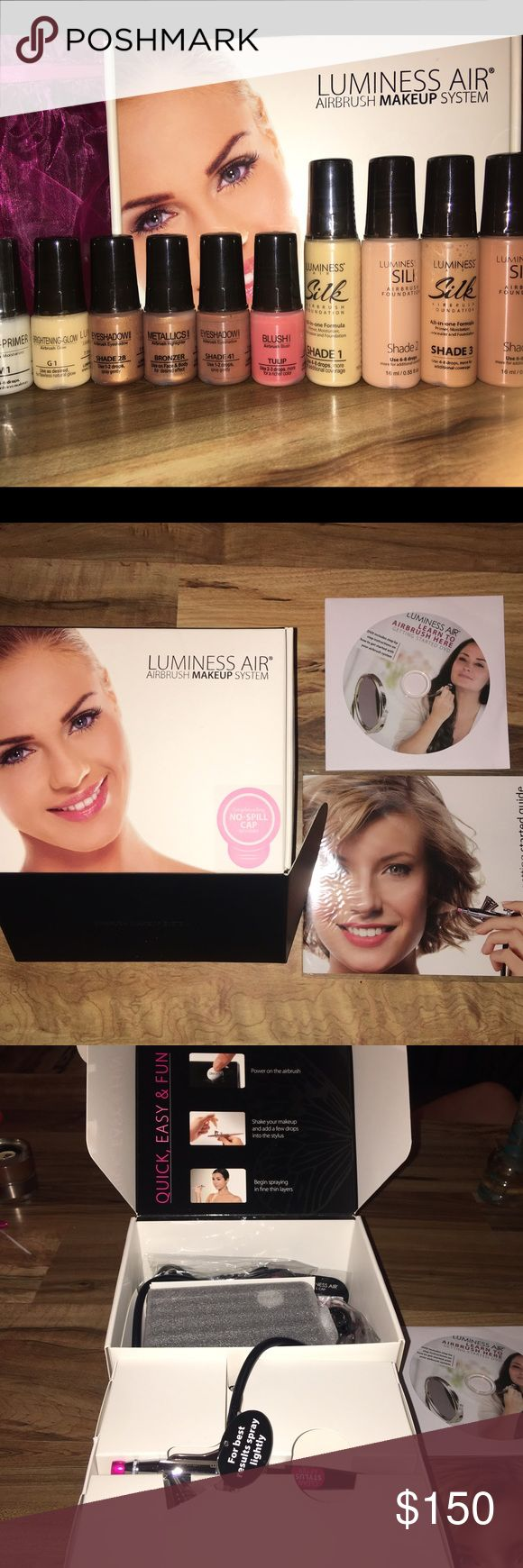 ❤️Luminess Air Airbrush System with Makeup Bundle ❤️Luminess Air Airbrush System with Makeup Bundle used once to try but decided it's too time consuming and now I must sell!! It was a gift so please make me an offer and get yourself an awesome easy to use airbrush system with makeup included in this bundle!!  This is the starter kit so you have everything to get started!! Luminess Air Makeup