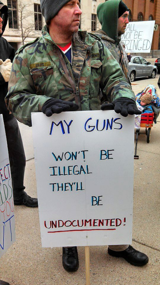 A counter-protester at a gun-control rally in Lansing Michigan (thanks Mi Coalition of Gun Owners and Mi Open Carry)