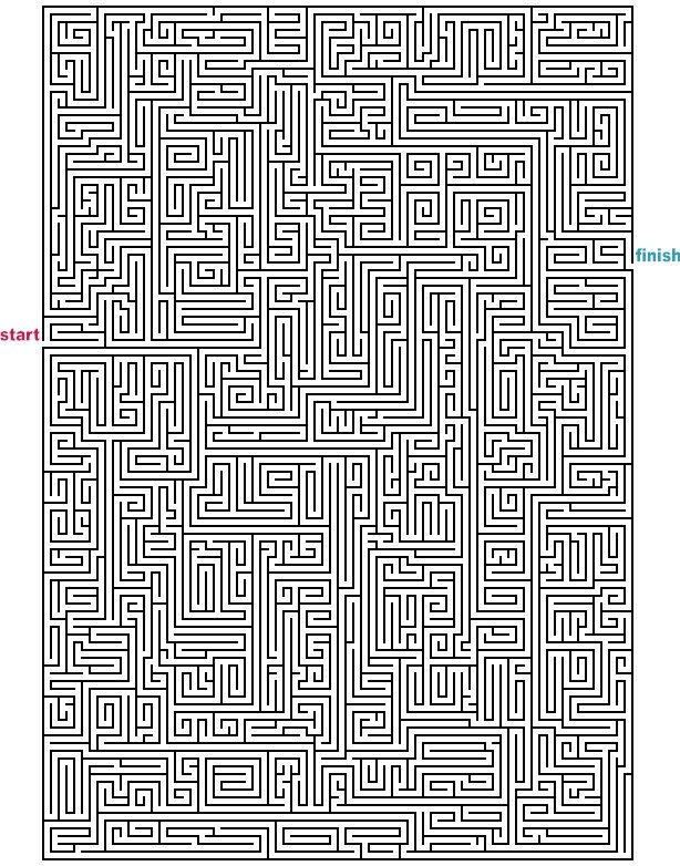 Level 5 von 5 - schwer; Alter: ab 12 Jahre; Mazes to Print - Mega Rectangle Mazes