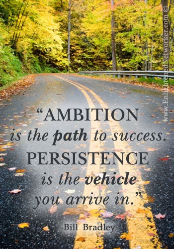 """AMBITION is the path to success. PERSISTENCE is the vehicle you arrive in."" -Bill Bradley"