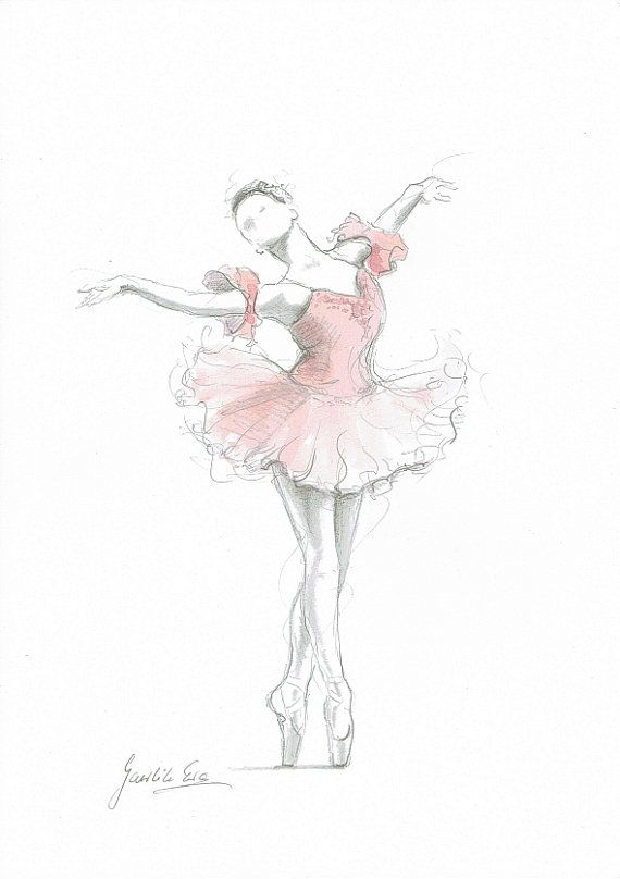 Ballerina Print, Pink Ballerina, Ballerina Drawing, Ballerina Painting, Watercolor, Ballet Illustration, Ballet Art, Ballerina Dancer, Pink