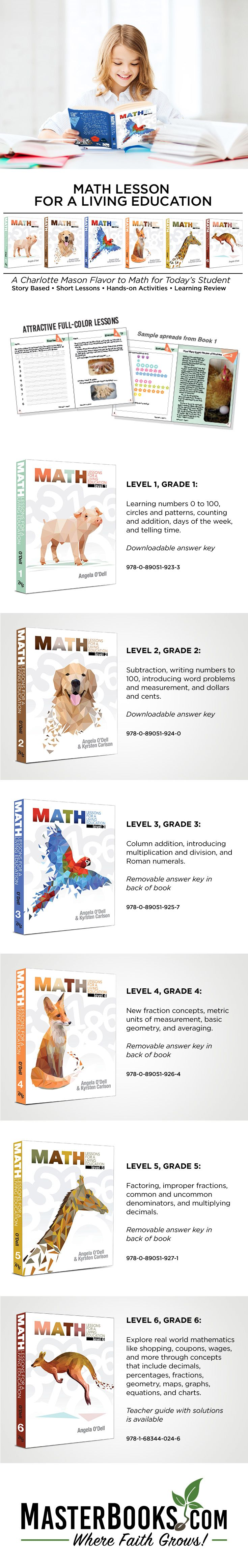 Math Lessons for Living Education Level 1-6 available at Master Books. The Math Lessons for a Living Education series helps take math from the pages of a book and place it in the context of real-life situations so that students can see the practical application (the why's) of these concepts (the how's). Math concepts are best learned in the context of living, in the midst of discovery, and through the worldview glasses that focus on the bigger picture.