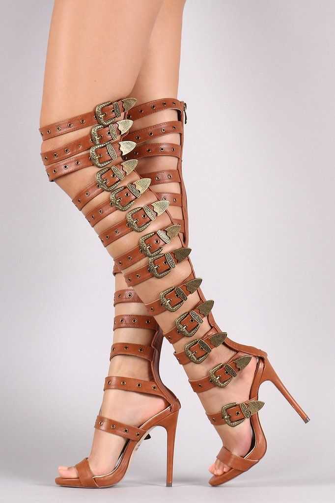Strappy Buckled Grommets Thigh High Gladiator Heel – Style Lavish