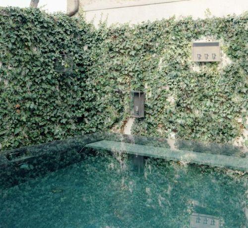 """enochliew: """"Una piscina en un jardín privado de Massimo Adario Architetto La piscina sobre tierra está hecha de secciones de piedra sólida, formando un borde rectangular casi monolítico, que contiene el agua.  """""""