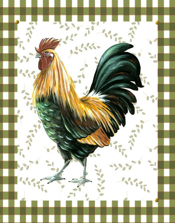 Country Rooster Print Art Pictures Green And White Gingham Kitchen Folk En 8x10