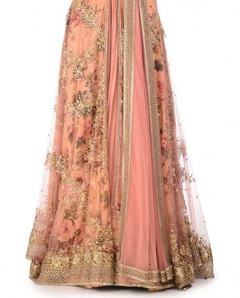 Salmon Pink Anarkali Suit with Sequin Embellishments - Kylee - Designers