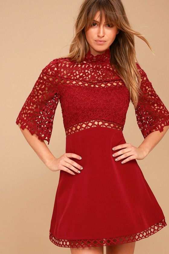 fb970c61f5af Transcend to new style heights in the Keepsake Uplifted Wine Red Lace Mini  Dress! Bold and breathtaking crochet lace forms a sheer mock neck and  flaring ...