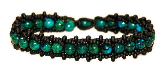 Flat Spiral Bracelet with stones Chrysocolla von Mulinka auf Etsy