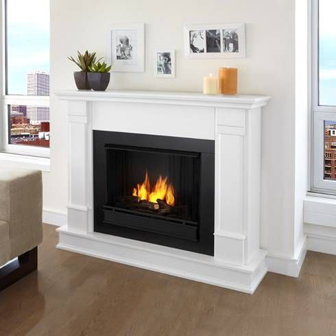 White real flame gel fireplace engineered wood mantel for Engineered fireplace