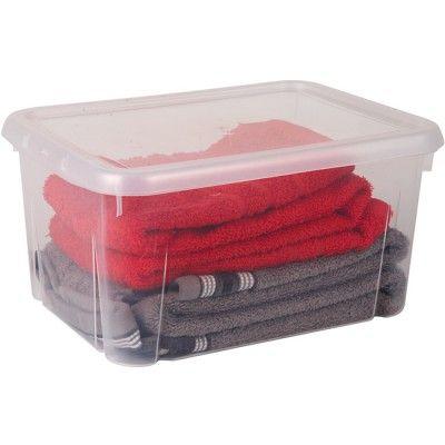 Box de rangement plastique transparent, cont. 8 L, dim. 31x23,5xh.15,5 cm.