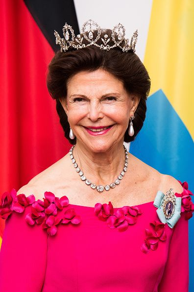Queen Silvia of Sweden during an official dinner at the Schloss Bellevue palace on October 5, 2016 in Berlin, Germany.