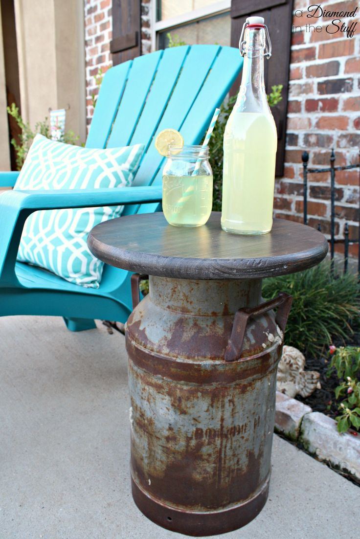 17 best ideas about milk can table on pinterest old milk for Milk can table ideas