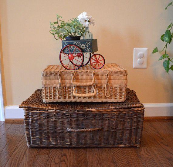 Old Wicker Trunk Basket / Vintage Wicker by TheVintageRoad2Retro