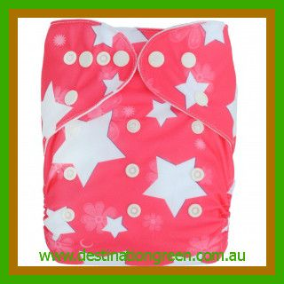 Modern Cloth Nappy - Pink Star, $14.95