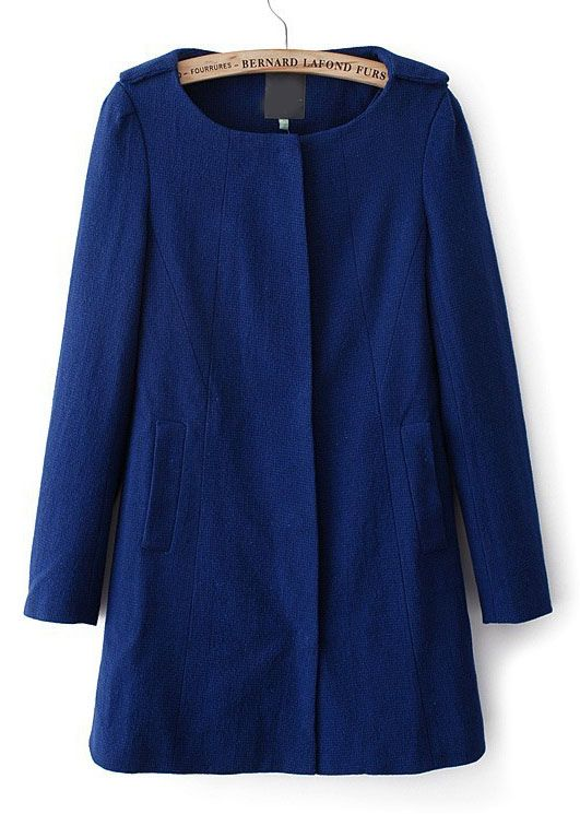 Blue Long Sleeve Pockets Vintage Trench Coat - Sheinside.com
