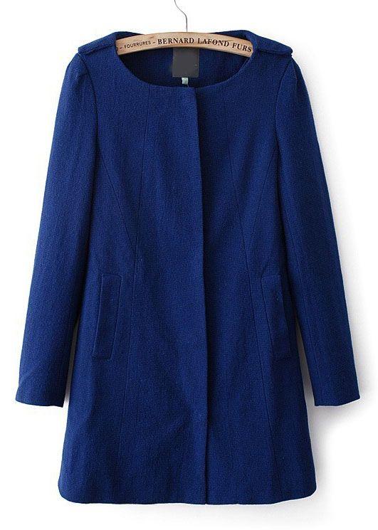 Blue Long Sleeve Pockets Vintage Trench Coat - Sheinside.com