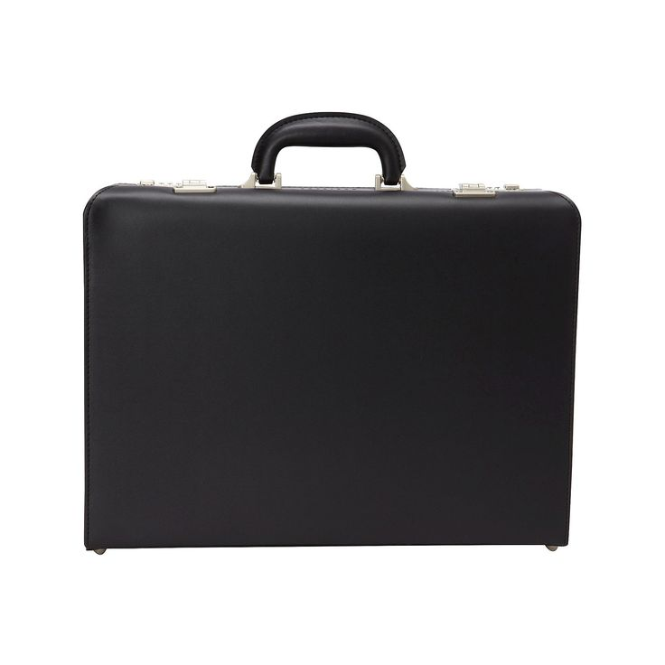 Heritage Vinyl Single Compartment Computer Business Attaché Case With Secure Combination Lock Closure - Black (17.3)