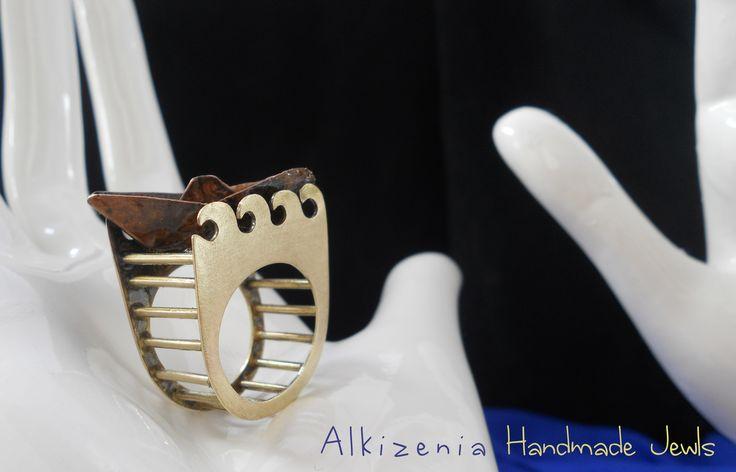 Brass & copper origami boat - Handmade metal ring by Alkizenia