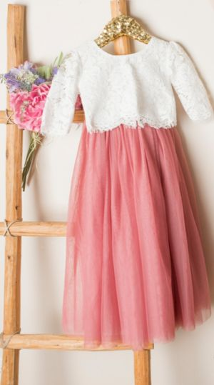 Sarah Lee Dusty Rose 2 Pc Lace Top and Tulle Skirt Flower Girl Set 2