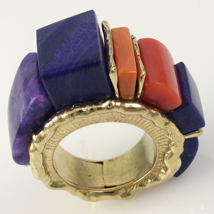 """Alvin Yellowhorse, 14k Gold Cast Ring with a """"High Rise"""" Cobbled Inlay Design using High Grade Sugilite and Mediterranean Coral. 7.5 Ring Size"""