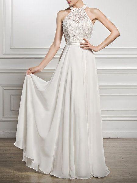 b79bc940bf5 Buy Prom Dresses For Women at JustFashionNow. Online Shopping JustFashionNow  Halter White Women Prom Dress Swing Prom Dress Frill Sleeve Stat…
