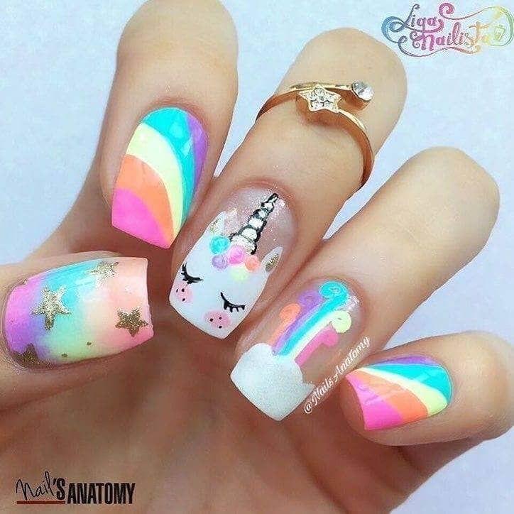 Bright Rainbow And Unicorn Nail Art Unicorn Nail Art Kids Nail Designs Unicorn Nails Designs