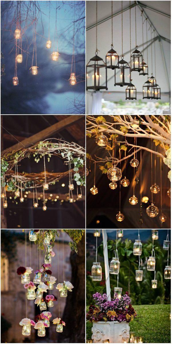 rustikale hängende Hochzeitsdekorationen der Weinlese mit Kerze