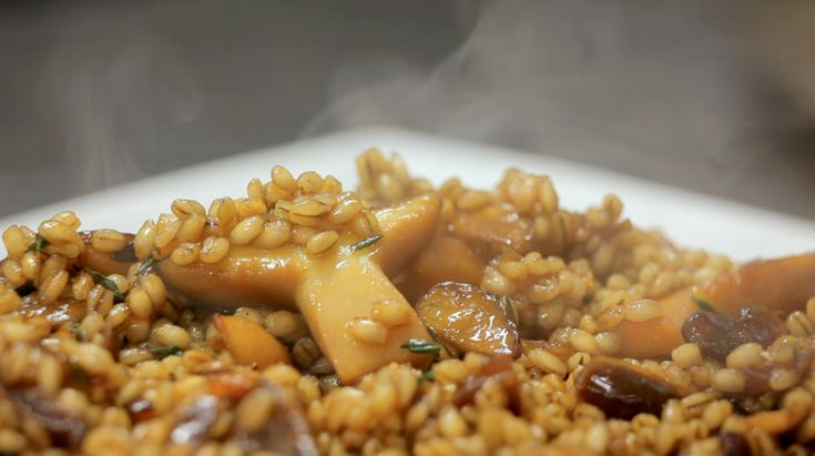 Smoked Reindeer Meat with Barley and Wild Mushroom Risotto