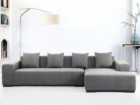 Fabulous Sofa dunkelgrau Couch Ecksofa L Sofalandschaft Sofagarnitur Stoffsofa LUNGO