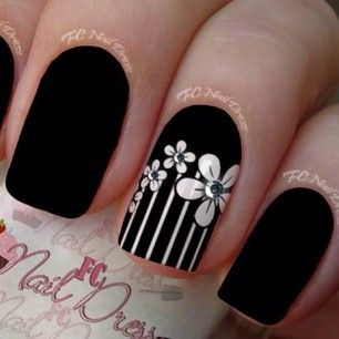 Black and White Floral Nails With Rinestones