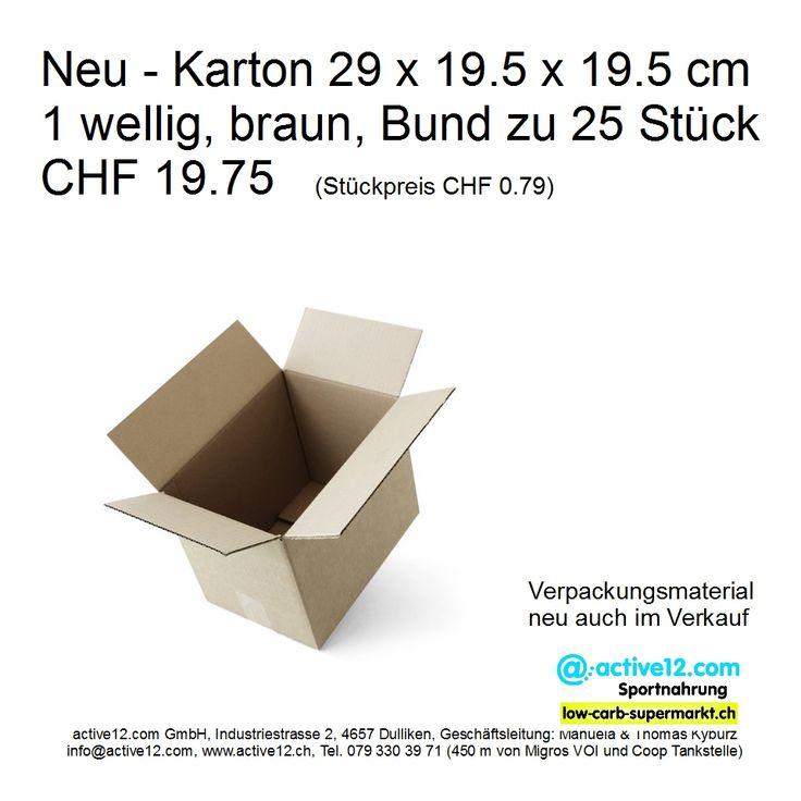 Neu - Karton 29 x 19.5 x 19.5 cm 1 wellig, braun, Bund zu 25 Stück CHF 19.75 (Stückpreis CHF 0.79) - neu auch im Verkauf. Kartons verbrauchen wir in grossen Mengen und kaufen sie auch in grossen Mengen ein und so können wir schon in kleineren Mengen gute Vekaufspreise anbieten. ►►► Online bestellen: http://www.active12.ch/Neu-im-…/Karton-29-x-19-5-x-19-5.html ►►► Lagerverkauf: http://www.active12.ch/info/Oeffnungszeiten.html #Verpackungsmaterial #Karton #Kartons #Schachtel #verpacken