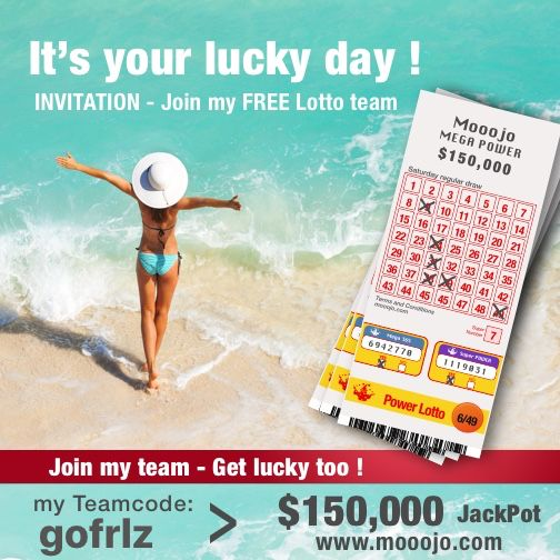 INVITATION – join my mooojo FREE Lotto Team !!! JackPot $150,000 every Saturday – Use my team code gofrlz to connect. Get lucky too! www.mooojo.com