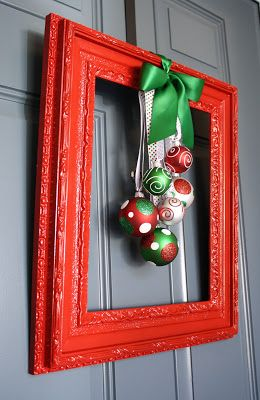 Framed Christmas Wreath- I don't usually decorate for Christmas at all but if I do, this is a great idea!!!! | #christmas #xmas #holiday #decorating #decor