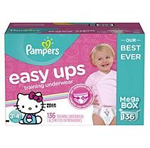Pampers Easy Ups Training Pants for Girls, Size 3T/4T (136 ct.)
