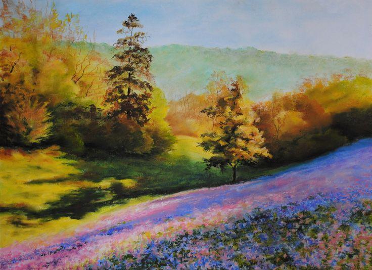 sucha pastela, pejzaż, dolina, soft pastel, landscape, Elżbieta Lubomirska