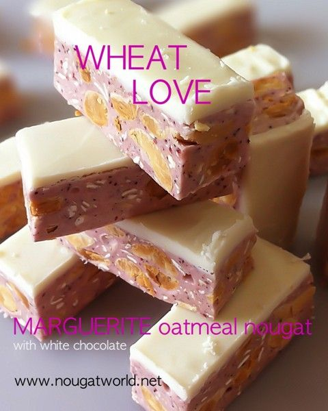 Oatmeal Nougat with Monascus and a layer of white chocolate A lot of fibre plus Monascus powder to enhance blood circulation And for your wonderful pleasure ... a layer of white chocolate on top www.nougatworld.net 021 33733688-89 081381122228