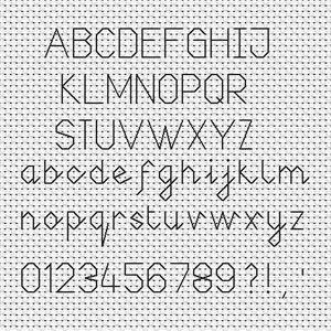 Joined Up Backstitch Font Chart (Medium)