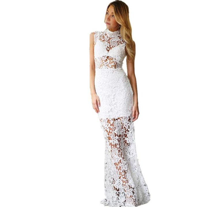 Vestido Vermelho Sexy Dresses Women 2017 White/Black/Red Floral Lace Hollow Out Turtleneck Sleeveless Maxi Dress LC60066