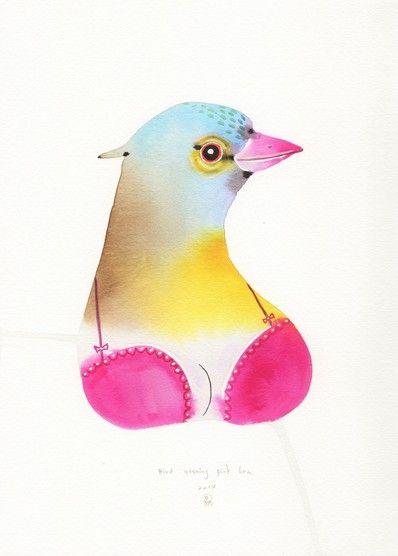 Bird Wearing a Pink Bra, 2014