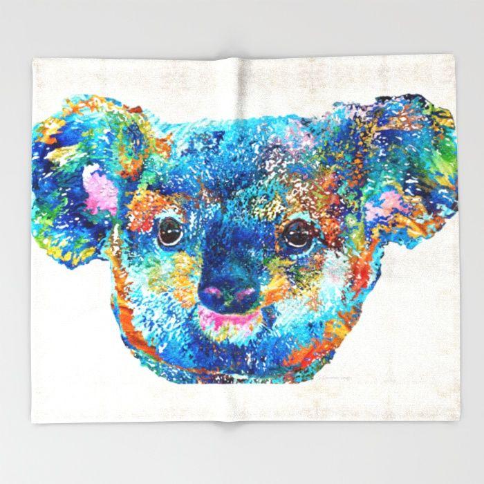 Colorful Koala Bear Art by Sharon Cummings Throw Blanket