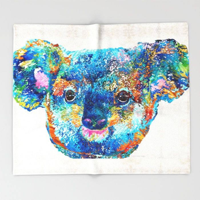 Colorful Koala Bear Art by Sharon Cummings Throw Blanket