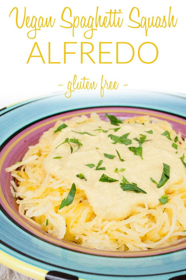 Vegan Spaghetti Squash Alfredo Gluten Free This Creamy Alfredo Recipe Has Big Flavor Without Al Low Calorie Sauces Vegan Lunch Recipes Vegan Dinner Recipes