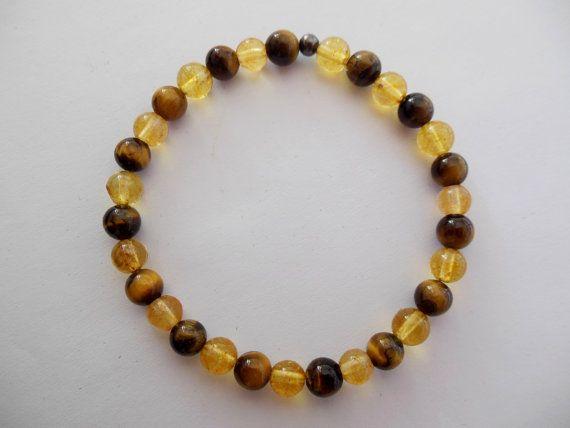 Handmade Citrine and Tigereye Gemstone Bracelet by SunstoneCraft
