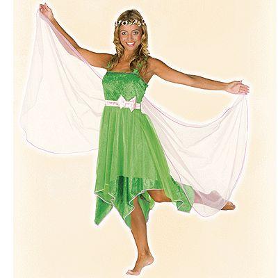 Elfen jurk voor dames. Deze elfen jurk voor dames is in de kleur groen en inclusief elfen vleugels. Voor elfen accessoires kijk bij ons in de winkel. Carnavalskleding 2015 #carnaval