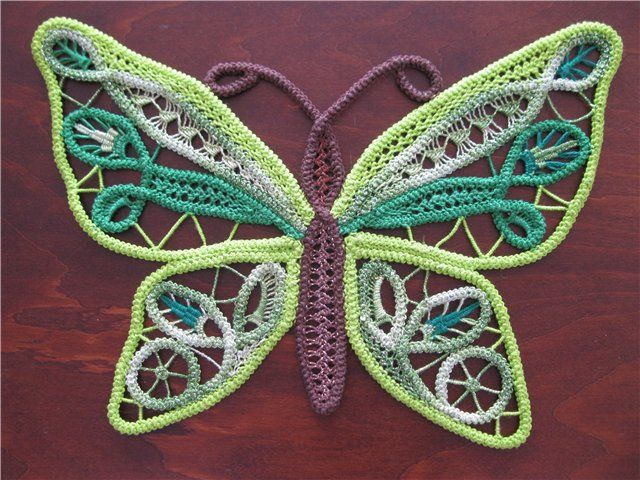 Purple and Green RPL butterfly (Romanian Point Lace which uses crocheted cord)