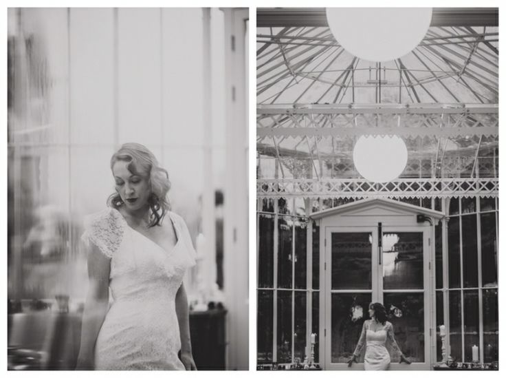 Bride in conservatory in vintage dress from Lace & Co - Elodie by Charlotte Balbier