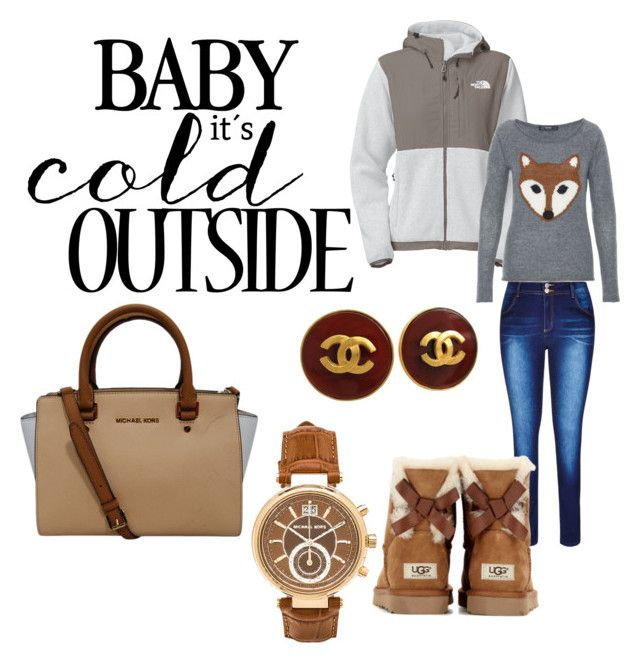 """Baby It's Cold Outside"" by k-rain on Polyvore featuring City Chic, UGG Australia, Michael Kors, Chanel, The North Face, Hallhuber and plus size clothing"