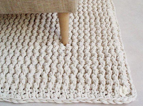 Ecri cuerda del algod n alfombra rectangular crochet alfombra alfombra de ganchillo punto - Alfombras de algodon ...