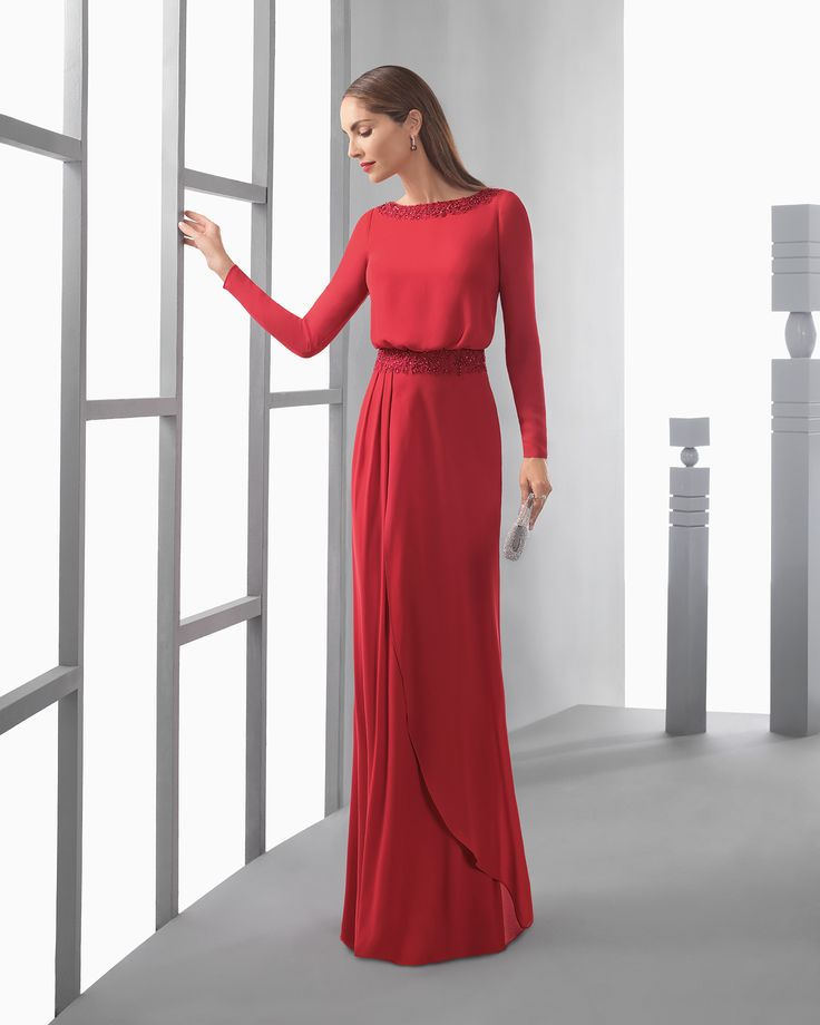 Long lightweight bloused crepe Georgette dress with long sleeves, V-back and beaded embroidery on waist, in red, aquamarine, silver, navy blue, blue and cobalt.